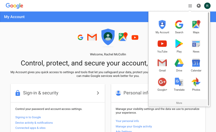 selecting google services form the grid at the top of the screen