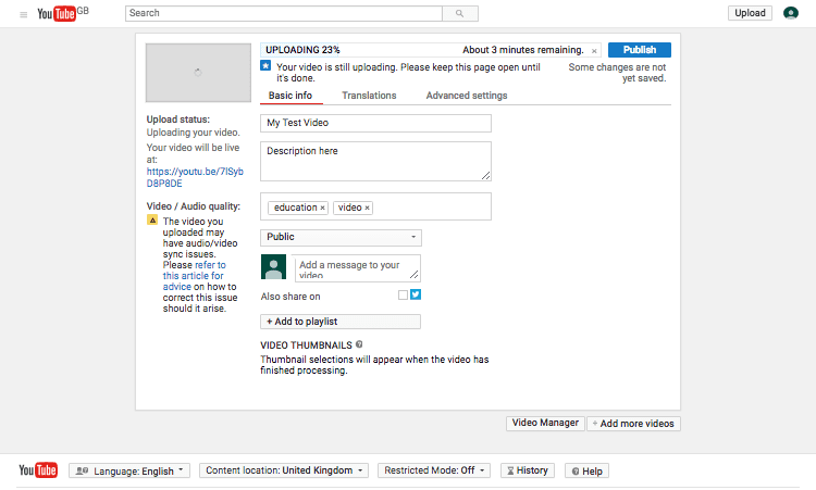 editing a video as you upload it