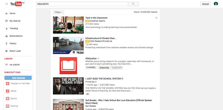 youtube - search for education