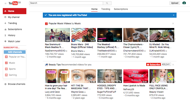 main youtube screen with account added