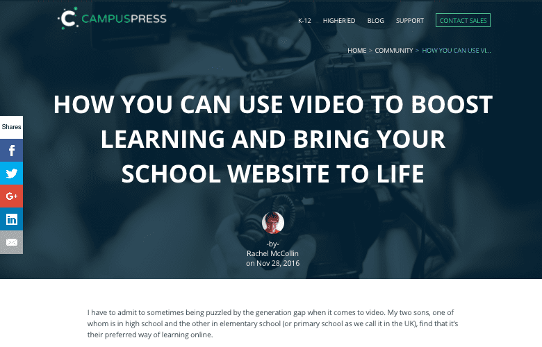 Campuspress blog post on using video