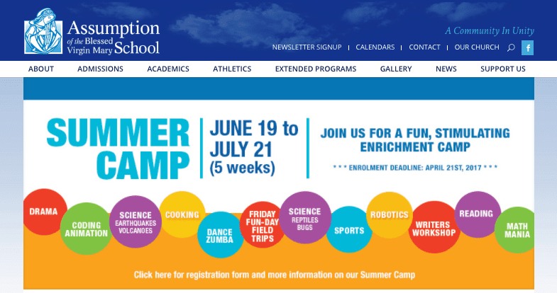 Summer camp poster on website home page