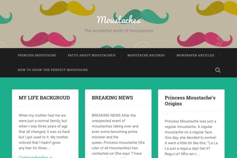 Moustaches blog created by a student