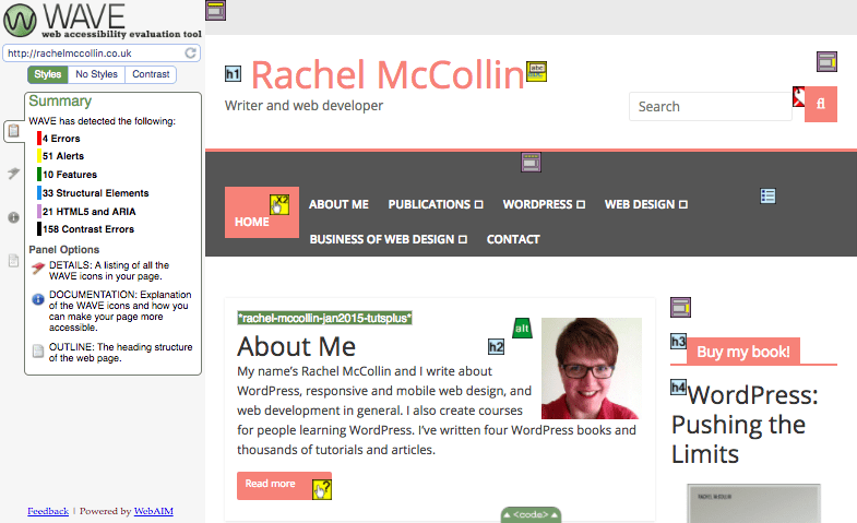 The WAVE validation tool shows multiple issues with Rachel McCollin's website