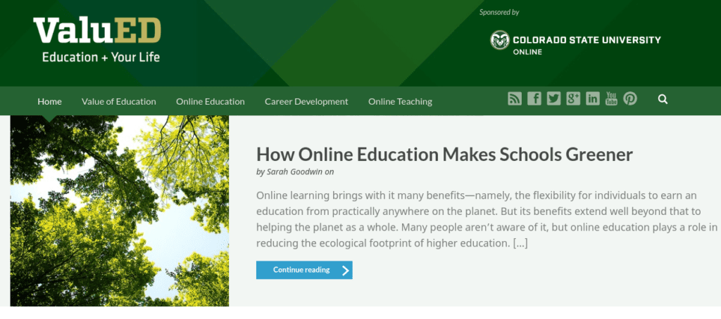 "Screenshot of CSU's ""ValuEd"" blog"
