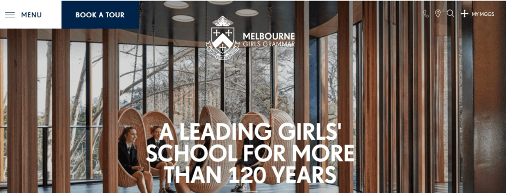 School Websites Guide: Screenshot of the header from the Melbourne Girls Grammar School home page.
