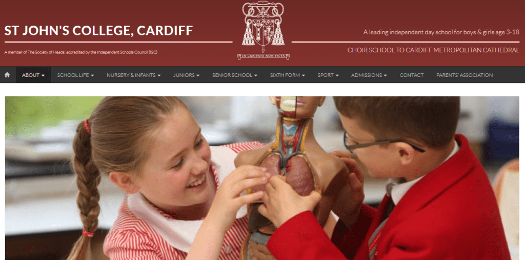 St Johns College Cardiff screenshot of website