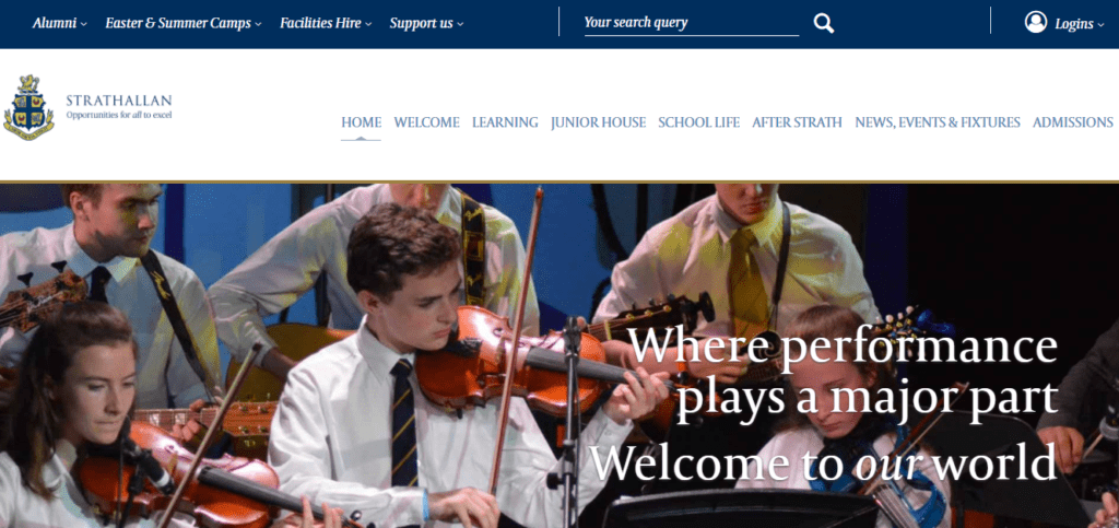 Screenshot of Strathallan school website