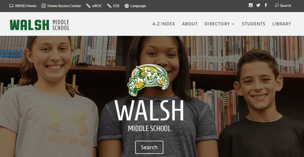 Screenshot of the Walsh Middle School home page.