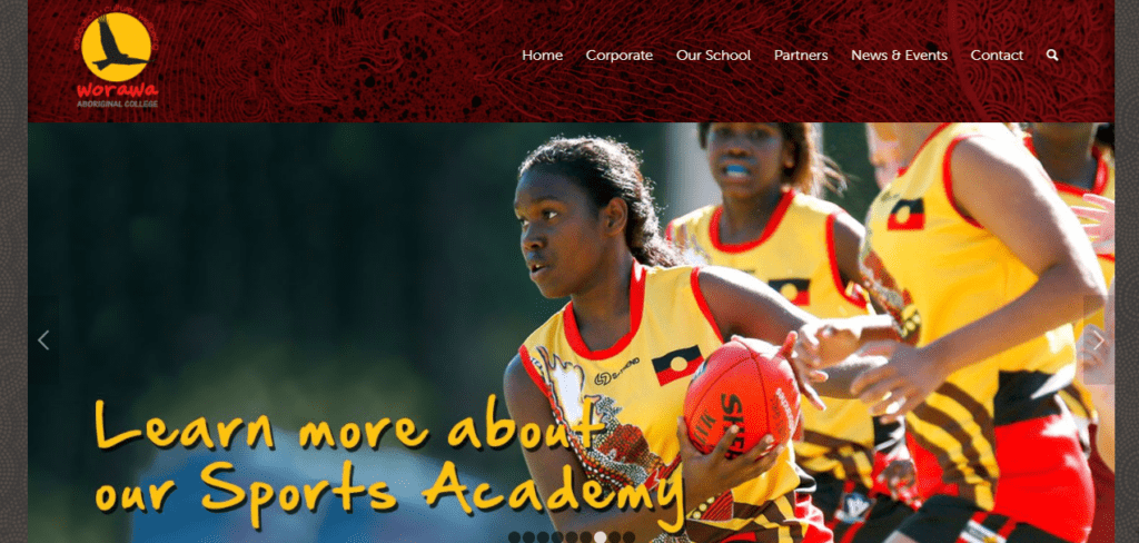 Screenshot of Worawa Aboriginal College home page.