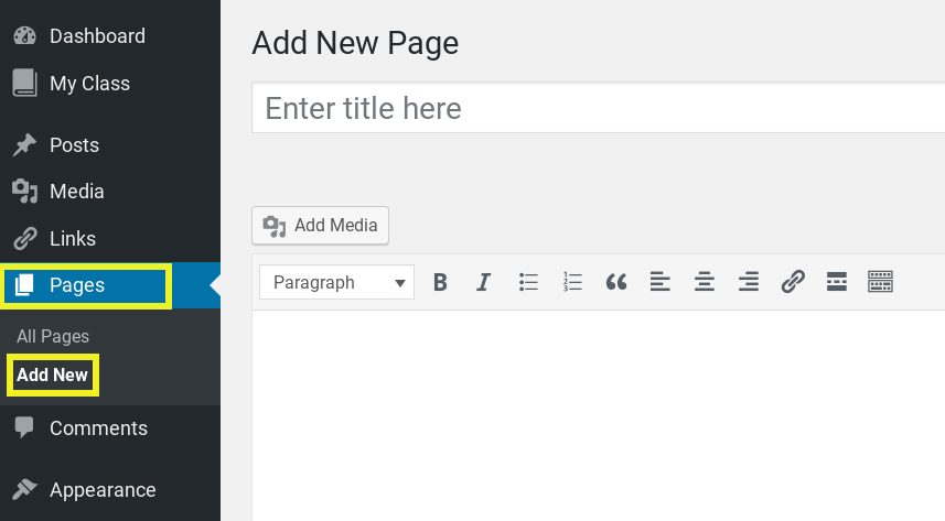 Screenshot showing how to add a new page in WordPress.