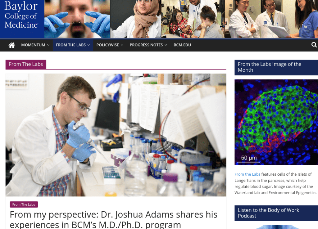 "Screenshot of Baylor University's ""From the Labs"" blog."