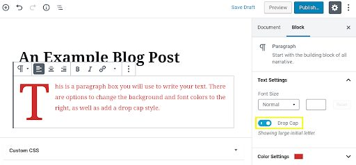 Screenshot showing Block options in the sidebar of WordPress' Edit page.