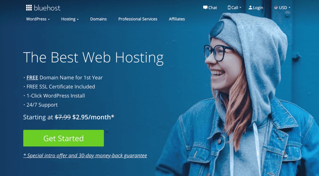Screenshot of BlueHost home page