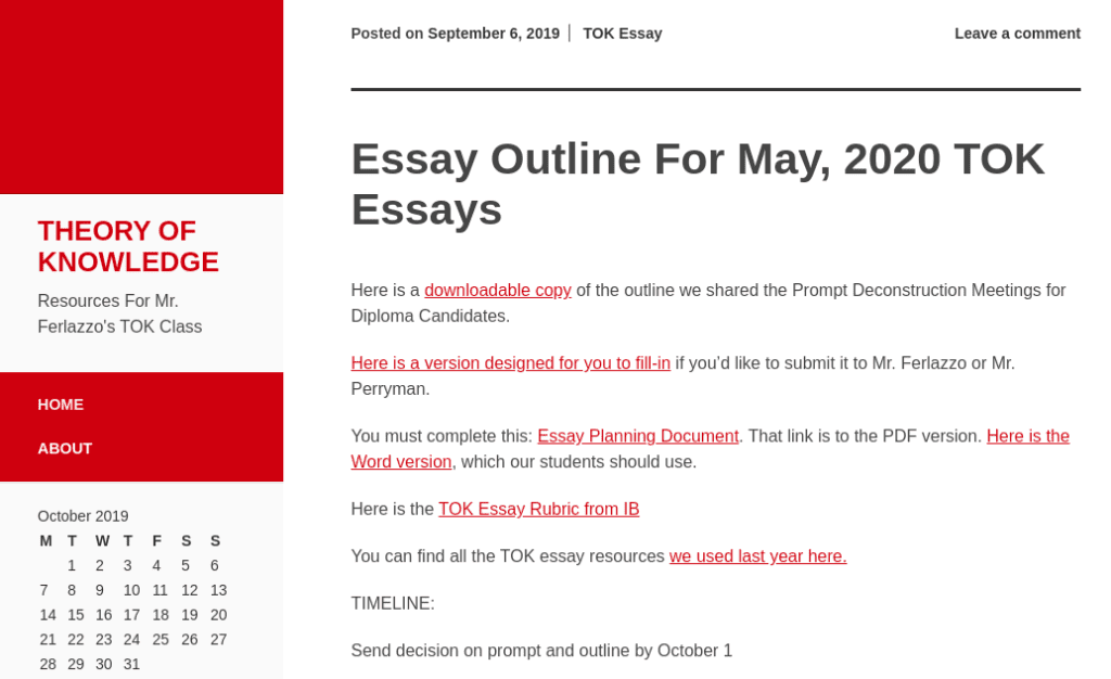 "Screenshot of ""Theory of Knowledge"" blog used as an example of a blog as a digital resource for course materials."