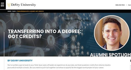 Screenshot of DeVry University blog