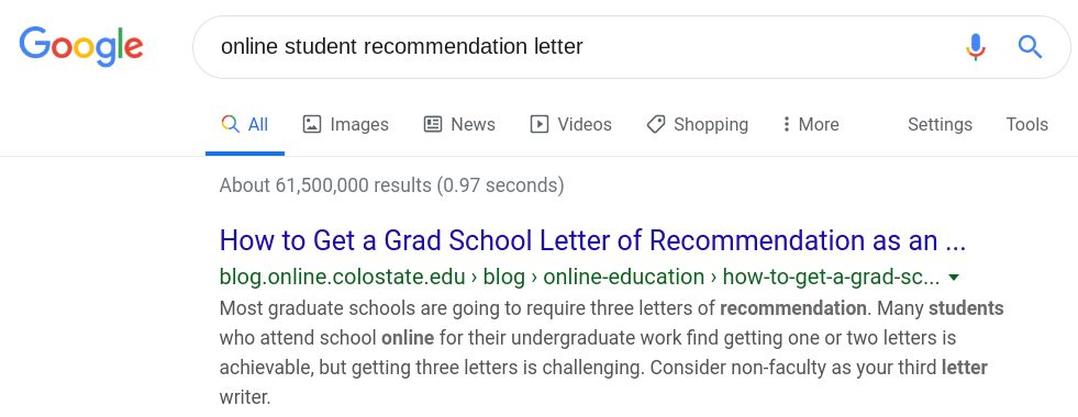 Screenshot of CSU's blog as first result in Google search results.