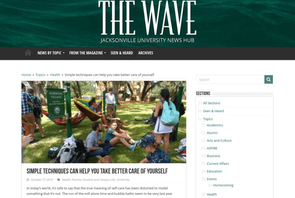 Screenshot of Jacksonville University blog.