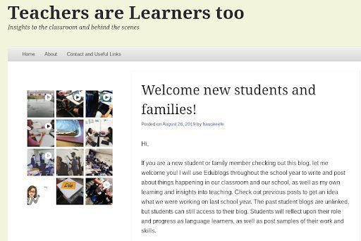 "Screenshot of ""Teachers are Learners Too"" website homepage used as an example of a blog as a communication tool."
