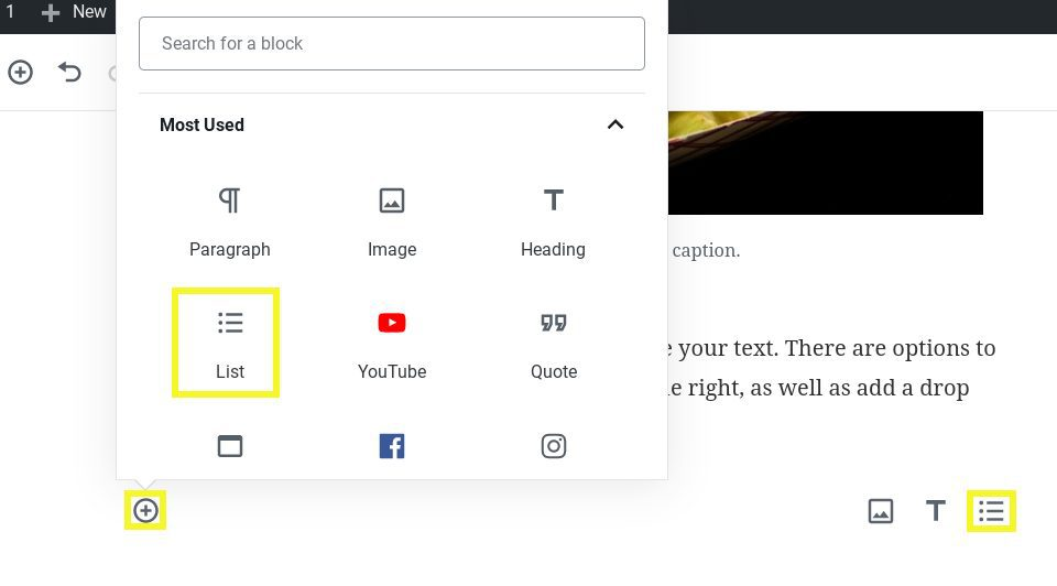 Screenshot showing how to add a List Block in WordPress.