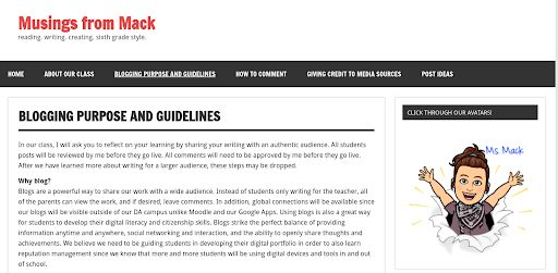 "Screenshot of ""Musings From Mack"" site used as an example of creating blogging guidelines for students."