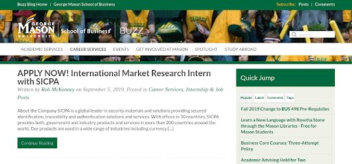 Screenshot of Mason University blog.