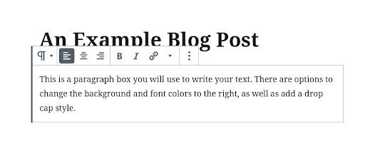 Image showing a Paragraph Block in Gutenberg.
