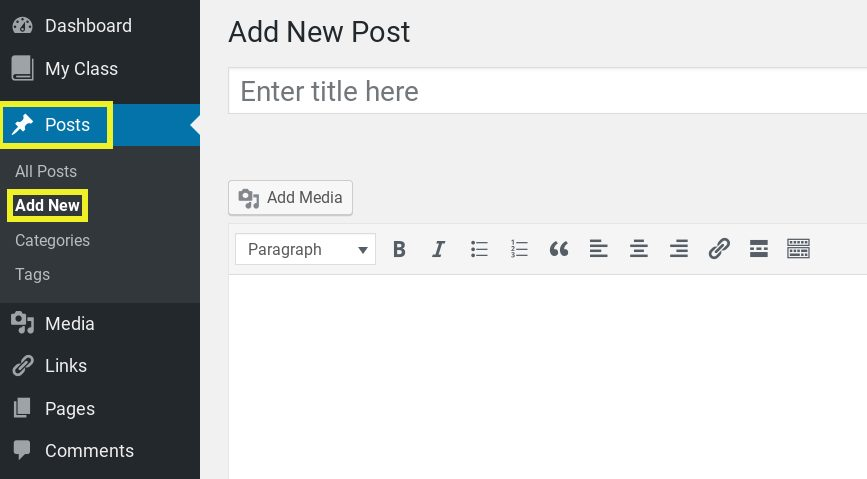 Screenshot showing how to add a new post in WordPress.