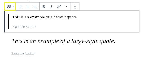 Screenshot showing Quote block styles in WordPress.