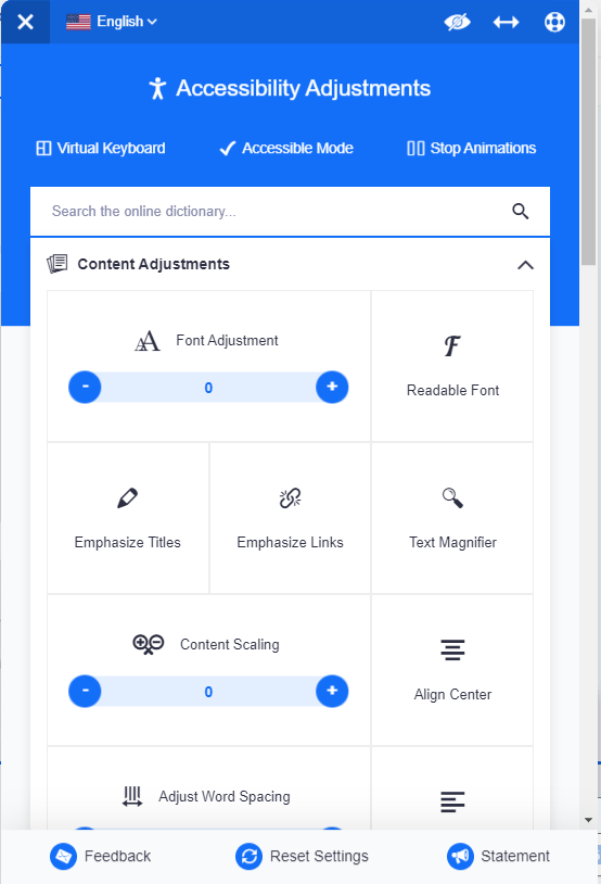 Screenshot of an accessibility toolbar application that we don't reccomend.