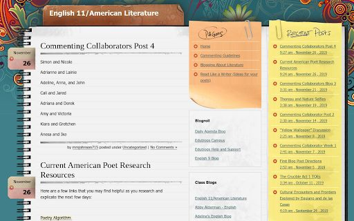 "Image of the blog ""English 11 / American Literature"" used as an example of a Student Blog."