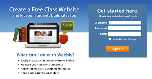 Weebly home page screenshot