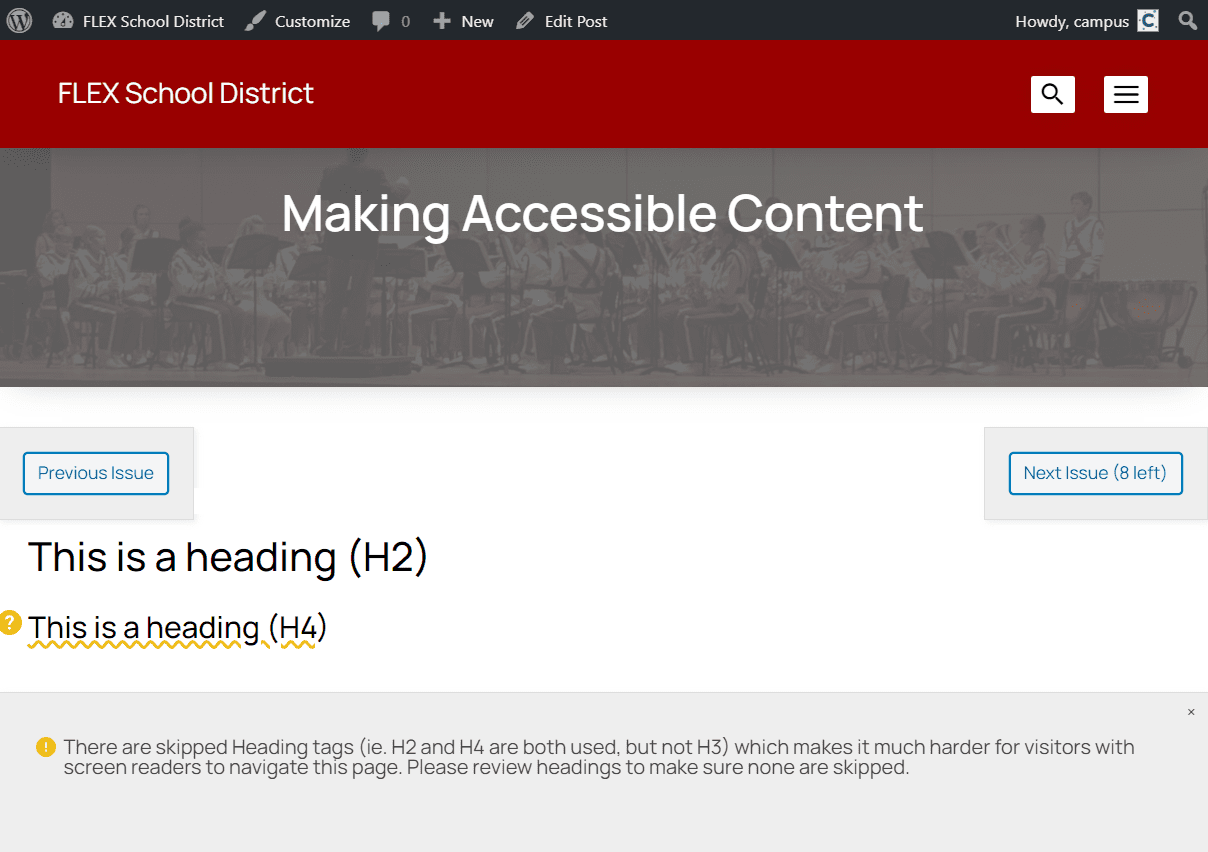 Screenshot of the Accessible Content plugin identifying skipped heading tags in a sample WordPress page.