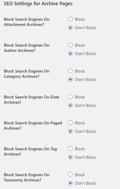 SEO Settings for archive pages