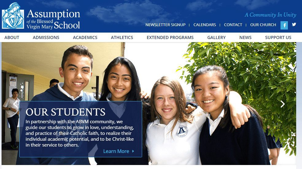 The Assumption of the Blessed Virgin Mary School website is built with WordPress.