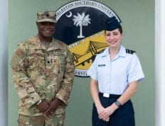 AFROTC Det 772 Commander, Roosevelt Loveless, presented The Major W. David Gray Air Force Leadership Funded Scholarship to Cadet Gabrielle D'Amico