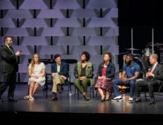 CSU Chapel with a panel of relationship experts on stage.