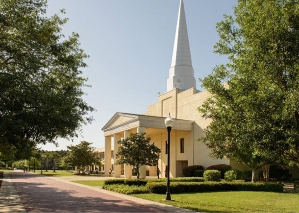 An angled view of the Chapel on CSU's campus.
