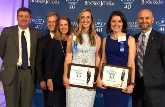 Cady Nell Keener and Jenna Johnson are joined by Executive VP Michael Bryant, President Dondi Costin, Vickey Costin and VP of Development David Baggs at the CRBJ Forty Under 40 event.