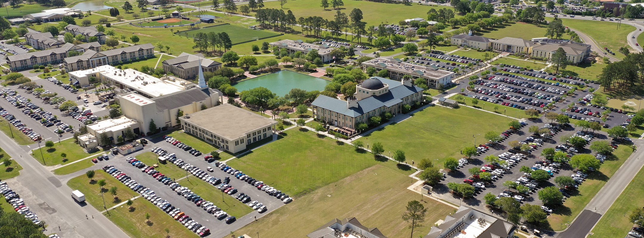 A birds eye view of Charleston Southern's campus.
