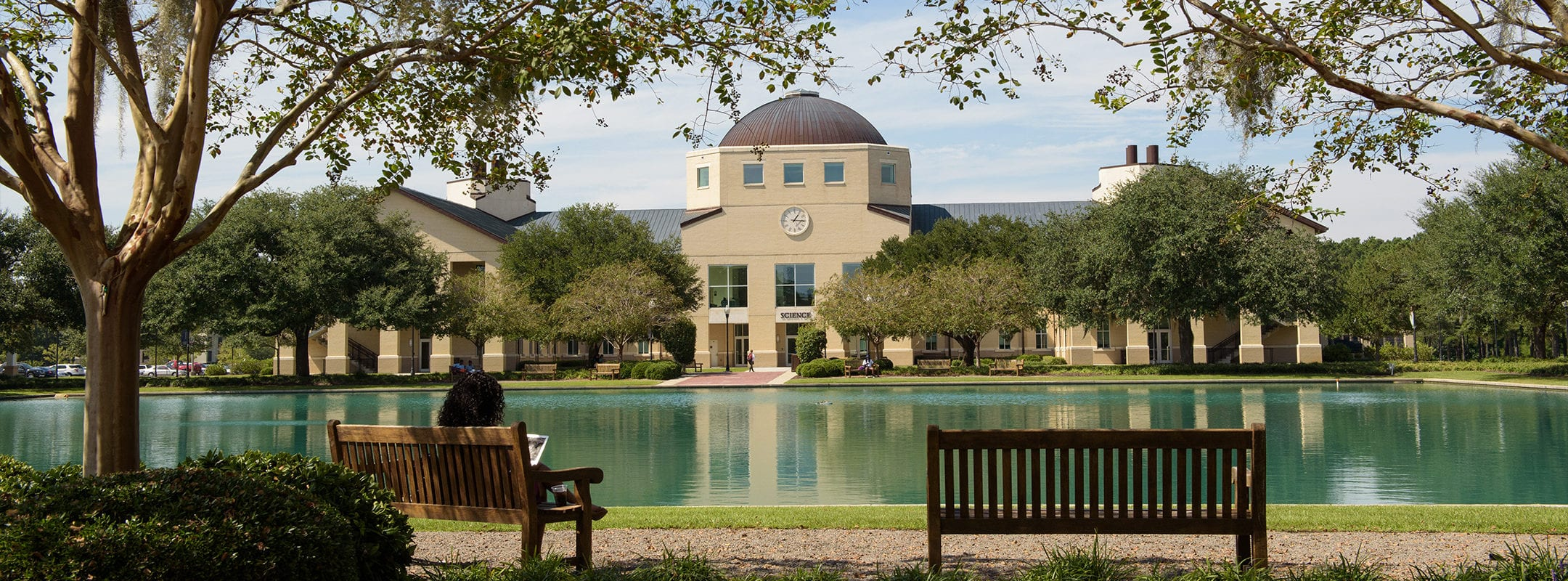 A view of the Science Building at CSU from across the reflection pond.