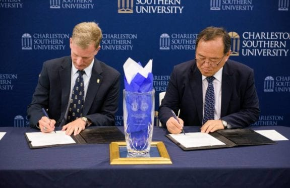 CSU President Dondi Costin and South Korea's Kangnam University President Shinil Yoon sign an agreement of partnership
