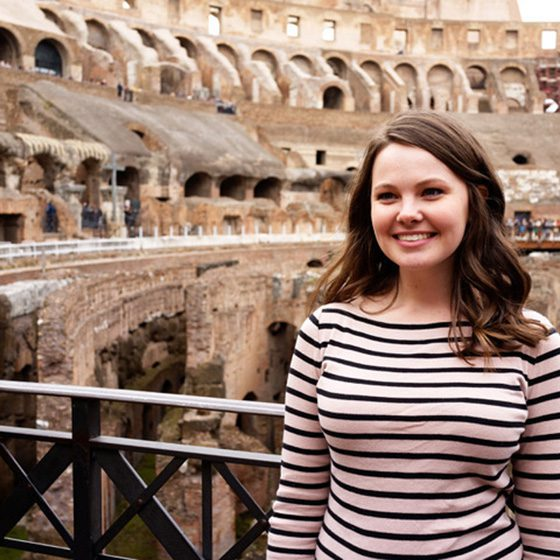 Student Danielle Hensley inside the colosseum in Rome.