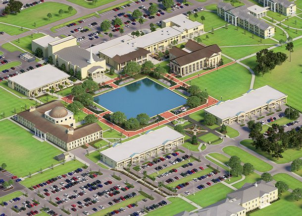 A 3D rendering of the center of CSU's campus.