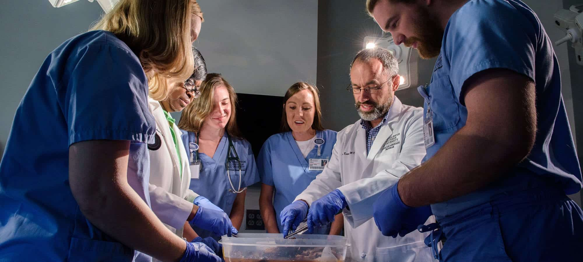 Physician assistant students in a cadaver lab overseeing the dissection of an organ.