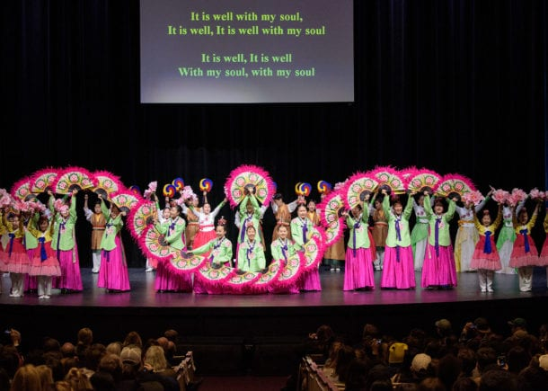 Children from South Korea perform with Billy Kim on the Chapel stage at CSU.