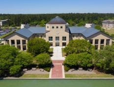 A view of the Science Building, take from a drone, at CSU.