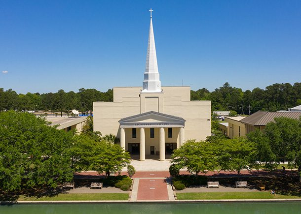 The exterior of the Lightsey Chapel Auditorium.