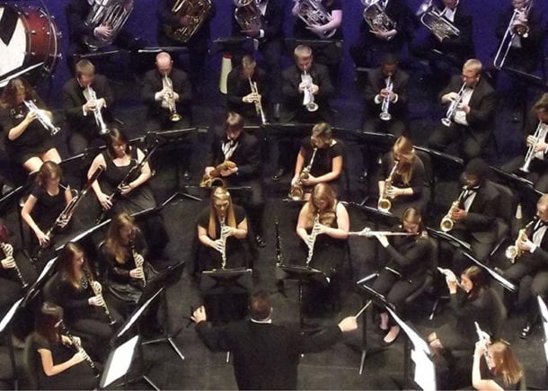 A view from above a Horton School of Music concert on the Lightsey Chapel Auditorium stage.