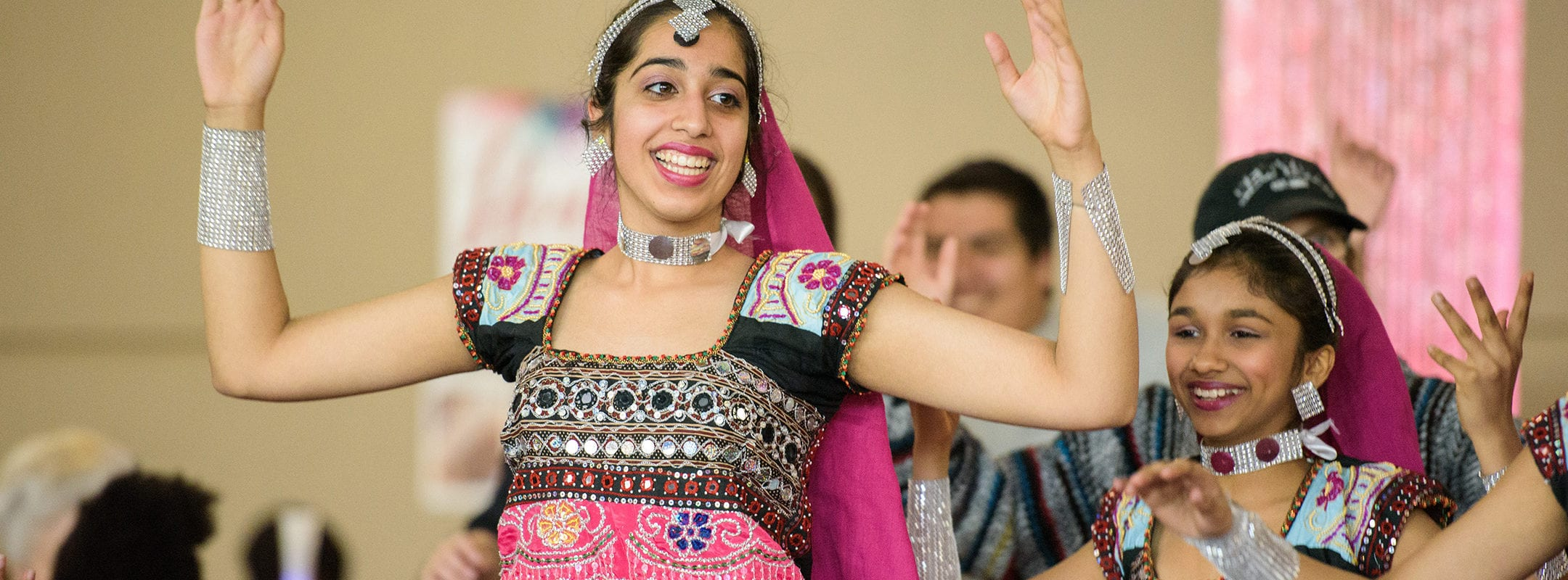 Traditional dancers from India perform during Culture Fest in the CSU dining hall.